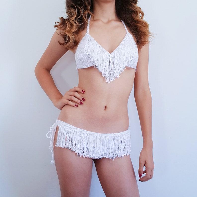 217d0159fe White Crochet Bikini Fringe Bikini Top Cheeky Fringe Bikini