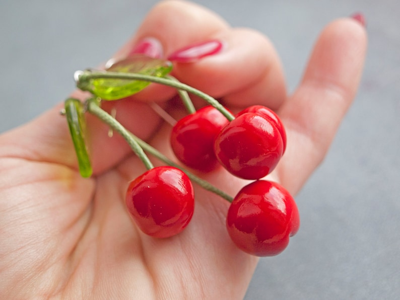 Earrings cherry Fruit earrings Cherry earrings Red Earrings Red cherry Earrings fruit Sweet cherry Fruit jewelry Gift for her Food earrings