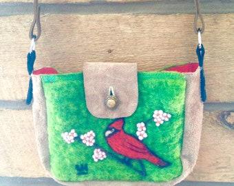 Cardinal felted wool purse