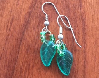 Green Leaf Beaded Earrings