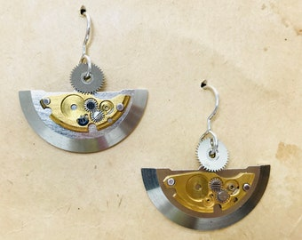 Upcycled vintage watch part earrings