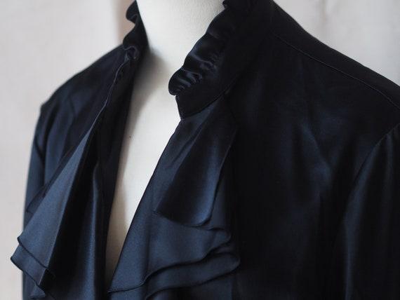 Lafayette 148 Silk Black Ruffled Blouse