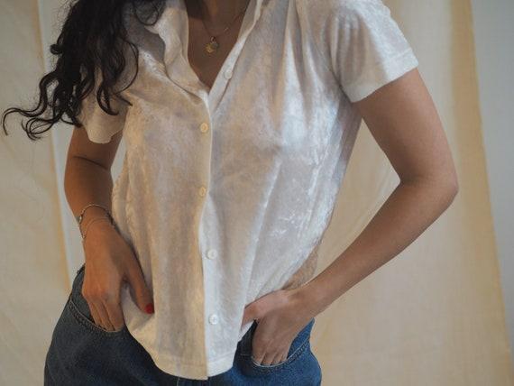 White Velvet Short Sleeve Button Up by Etsy