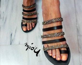 426fdd66c89e Black leather strass sandals