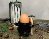 Egg cup with spoon/ witch's cauldron/ boiler/ broom