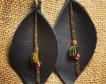 Black Leather Leaf Earrings with Brass Accents