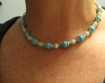 Turquoise Choker,  Gemstone Choker, Turquoise Necklace,December Birthstone