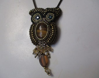 Owl Necklace, Owl Pendant, Embroidered Necklace