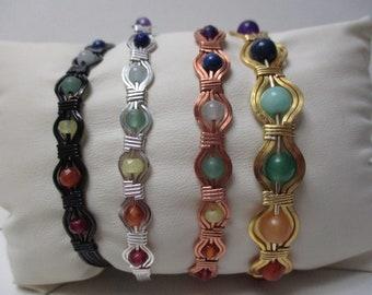 7 Chakra Bracelet, Silver, Copper, Black, or Gold