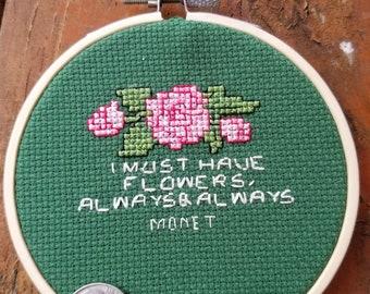 Monet quote cross stitch