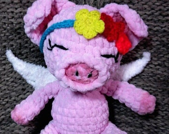 Pink plush crochet piggy toy for kids from 1 year old pig-angel