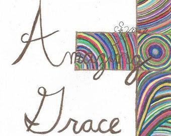 "Hand Drawn ""Amazing Grace"" Cross printable"