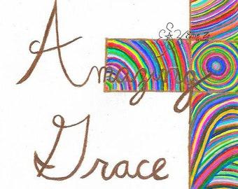 "Hand Drawn ""Amazing Grace"" Extra Bright Cross printable"