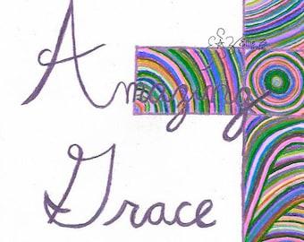"Hand Drawn ""Amazing Grace"" Pink Cross printable"