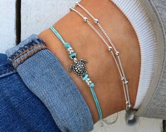 Aqua Blue Sea Turtle Anklet d2f96f25d694