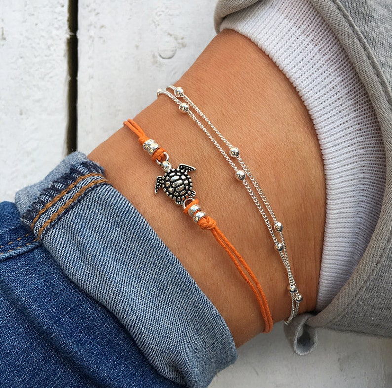 32a0285f3 Orange sea turtle ankle bracelet silver beaded anklet cute