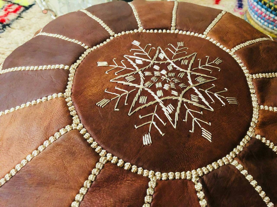 2 Moroccan Brown Leather Pouf Throw Pillow Cover Pillow Cover Decorative for Couch Throw Pillow Case Brown Leather Cushion Cover Solid Color