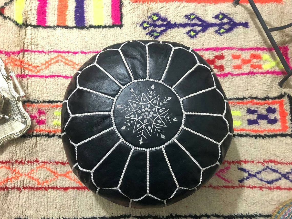 2 charming set of Moroccan traditional Berber leather pouf a black / a gold pouf bohemian leather footstool natural genuine Pouffe Kdays