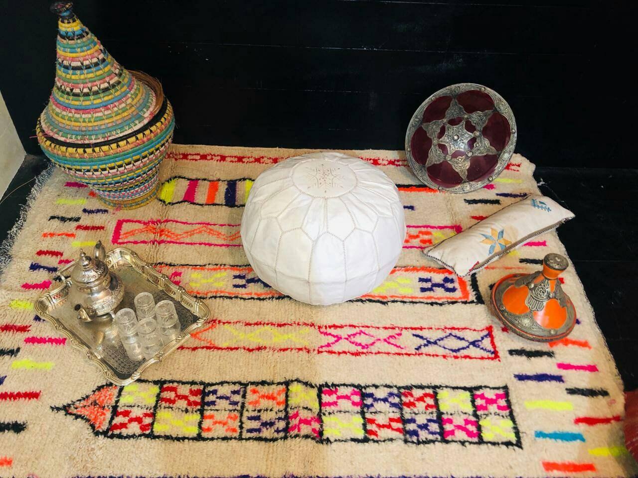 2 blanco marroquí tradicional bereber cuero puf Kdays Ostrich