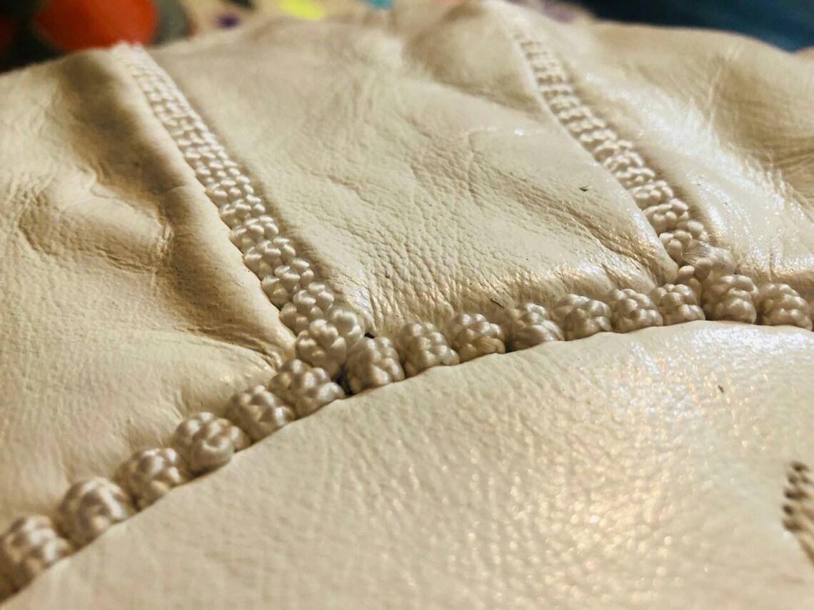 2 set of Moroccan traditional Berber leather pouf a black pouf & a white pouf Moroccan pouf leather pouf, pouf ottoman bohemian pouf natural