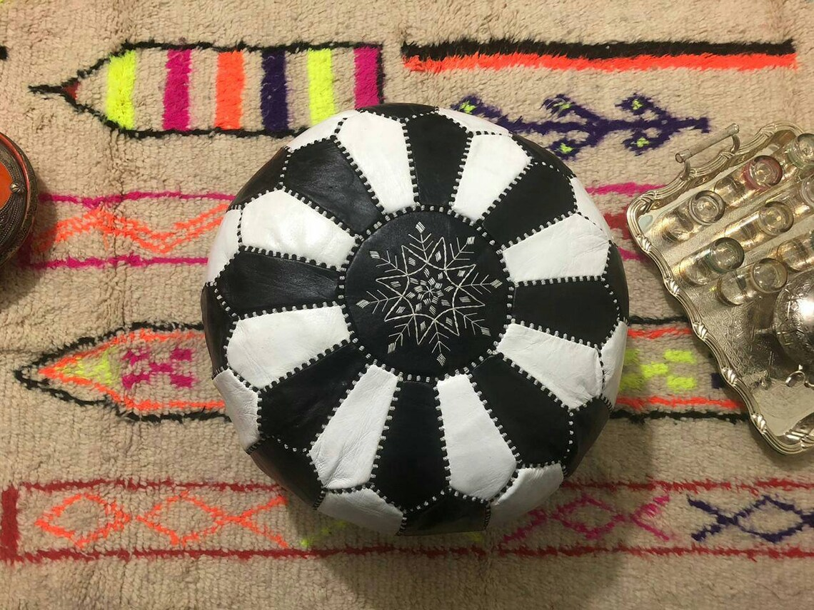 2 set of Moroccan traditional Berber leather pouf a black pouf & a black/white pouf Premium Luxe Moroccan Leather Ottoman Pouffe handmade