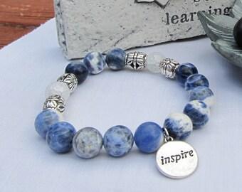 Sodalite and Quartz Inspire Charm Bead Bracelet