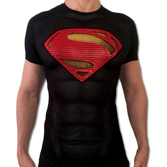 00f036ca Image Closeup for Superman T-Shirt – Gold & Black Shield Logo