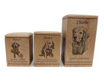 Pet Memorial Urn, Pet Urn for Dog Ashes, Dog Memorial Box, Portrait Engraved, Dog Urn for Ashes, Cremate Urn