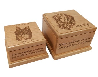 Cremation Pet Urn, Ashes for Dog Cat Engraved, 1 to 75 lbs, Keepsake Wood Box, Memorial, Personalized Photo Pet Loss Gifts, Custom Portrait