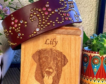 Cremation Pet Urn for Dogs, Cat Urn for Ashes, Dog Urn for Ashes, Engraved Cremate Wood Box, Memorial, Personalized Photo, Pet Loss Gifts,
