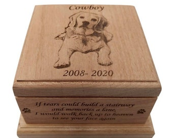 Cremation Pet Urn For Dogs, Cat Ashes Pet Urn Engraved, up to 75 lbs, Cremate Wood Box, Memorial, Personalized Photo Pet Loss Gifts,