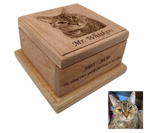 Cremation Pet Urn, Ashes for Dog Cat Engraved, 1 to 75 lbs, Cremate Wood Box, Memorial, Personalized Photo Pet Loss Gifts, Custom Portrait