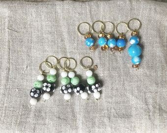 Knitting stitch markers- glass and ceramic beads on brass