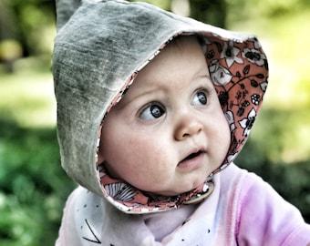 Pixie, gnome or fairy baby bonnet size 6-12 mo
