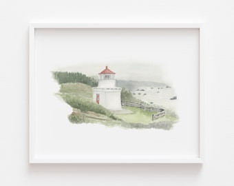 Trinidad Head Lighthouse/ Lighthouse Art Print / Lighthouse Painting / Watercolor Lighthouse Art Print/ Gifts for New Home / Wall Art