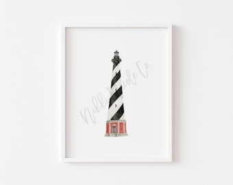 Cape Hatteras Lighthouse Watercolor Painting/ Lighthouse Art Print/ Watercolor Lighthouse Art Print/ Housewarming Gift/ Beach House Art