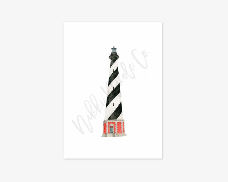 Cape Hatteras Lighthouse Watercolor Painting Lighthouse Art Print Watercolor Lighthouse Art Print Housewarming Gift Beach House Art