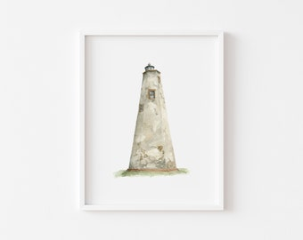Old Baldy Lighthouse Watercolor Painting/ Lighthouse Art Print/ Lighthouse Painting/ Watercolor Lighthouse Art Print/ Gifts for New Home