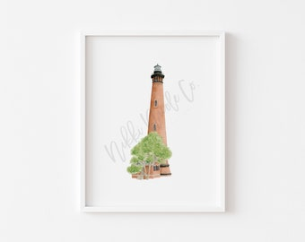 Currituck Lighthouse Watercolor Painting/ Lighthouse Art Print/ Watercolor Lighthouse Art Print/ Housewarming Gift/ Beach House Art
