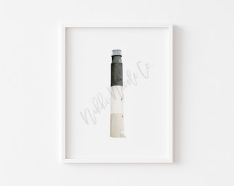 Oak Island Lighthouse Watercolor Painting/ Lighthouse Art Print/ Watercolor Lighthouse Art Print/ Housewarming Gift/ Beach House Art