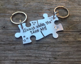 Personalised jigsaw keyrings interlocking jigsaw keyring gift