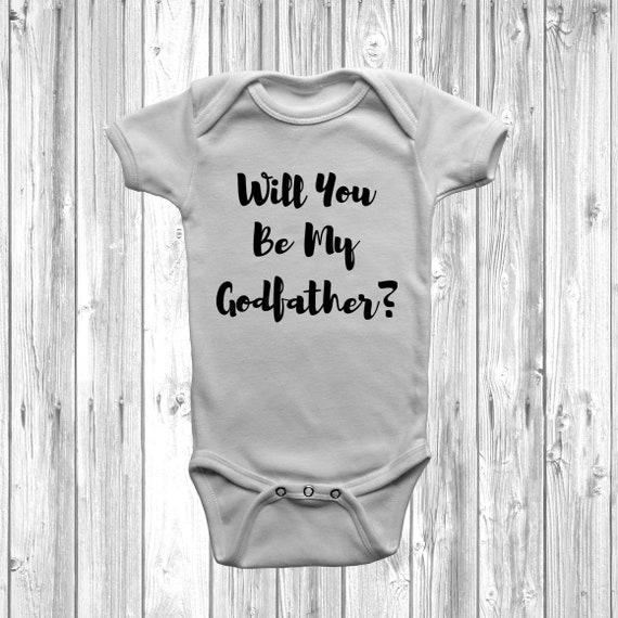 Christening Baby Bodysuit Baby Vest Will You Be My Godfather?