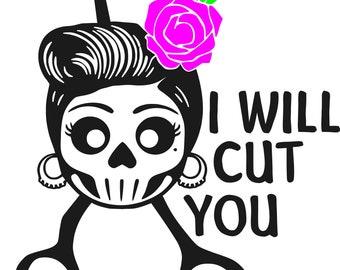 I will cut you, hairdresser, sugar skull, haircut, SVG