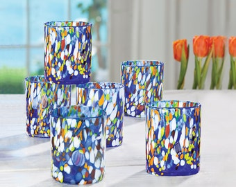 45c06d94517 10 Oz Blue Millefiori Tumbler Glasses | Set Of 6 | Stemless Wine Glass |  Drinkware | Made in Italy
