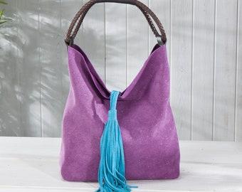 53621d92c8 Purple Florentine Suede Sparkle Bucket Bag