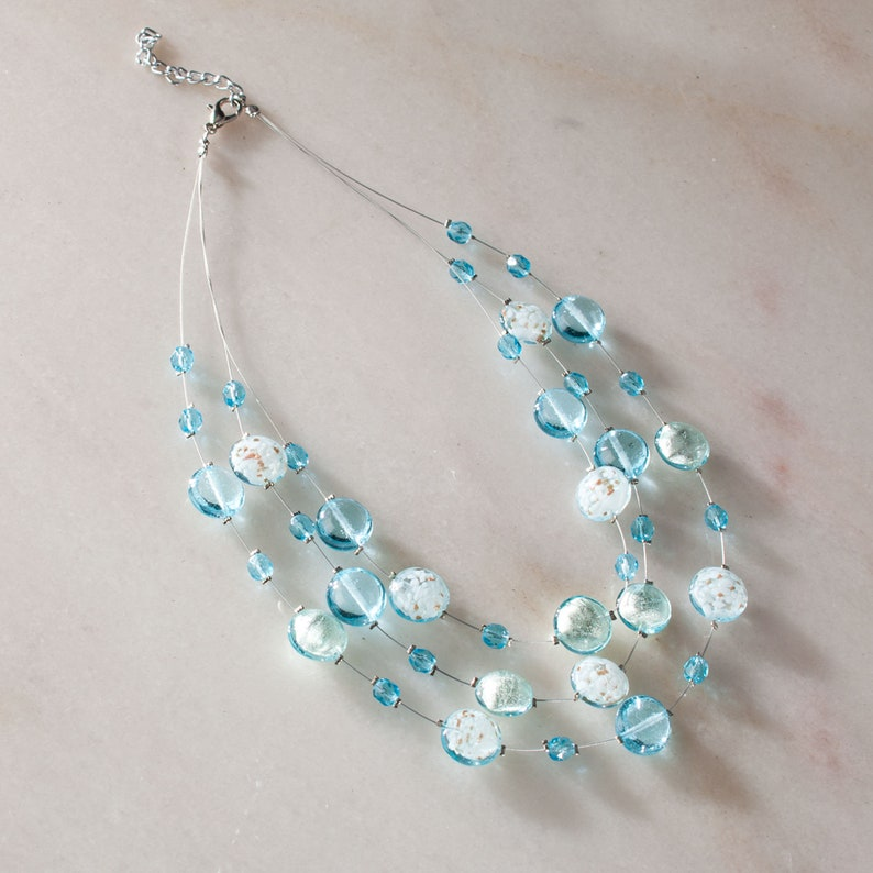 Sky Blue Murano Glass Bauble Necklace Made in London Sale