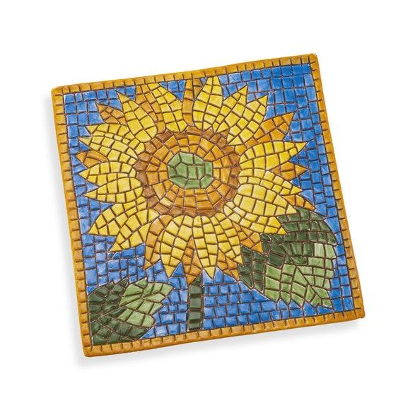Art Tile Ceramic Trivet Italy Brown /& Turquoise Quail