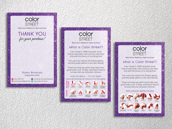 Personalized Color Street Thank You Cards What Is Color Street Color Street Instruction Cards Color Street Business Card Cs32
