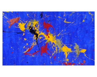 David Gottfried Original Painting 'Blue World'  2013 / Splatter Paintings / Acrylic Paintings on Canvas / Canvas Paintings / Wall Art
