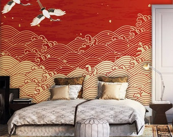 Japanese Design Waves Drawing Wallpaperhome Decor Wall Artpeel And Stick SelfAdhesive Mural Reusablewall Decalclipart